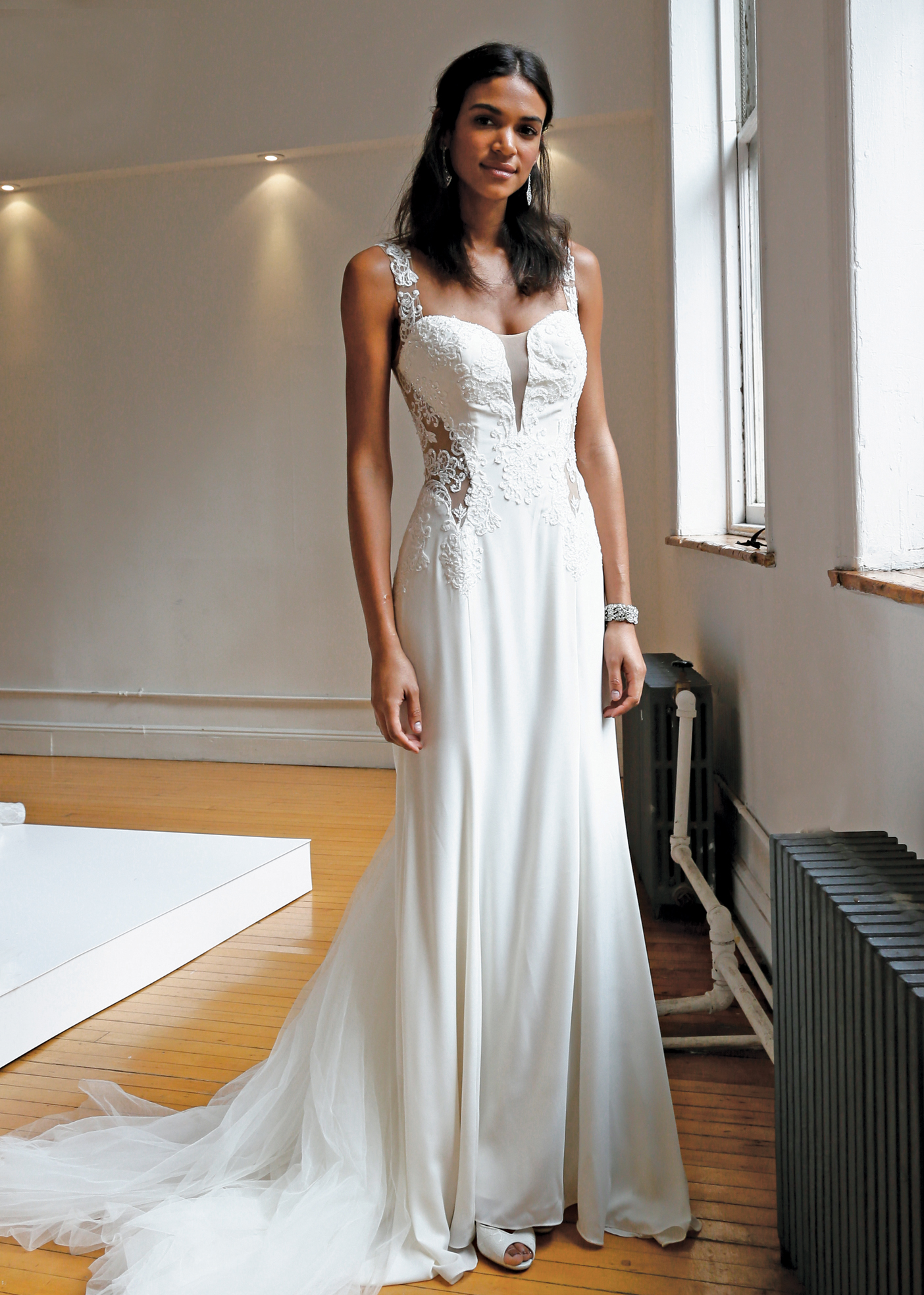 Galina signature spaghetti strap fit to flare wedding gown galina signature junglespirit Gallery
