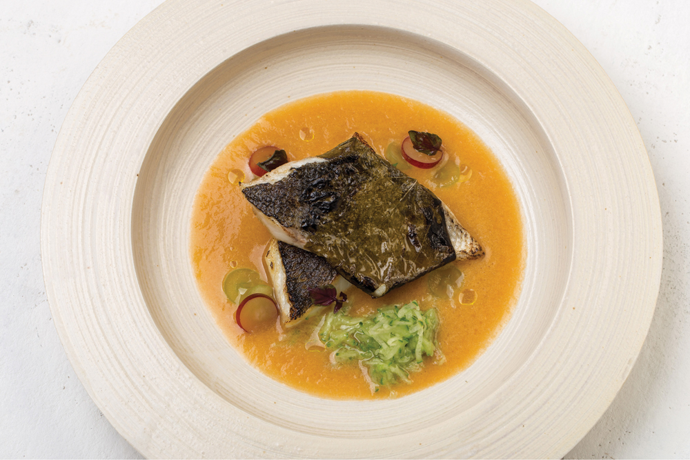 Nuhma New York, Black Sea Bass w Sun Gold Gazpacho