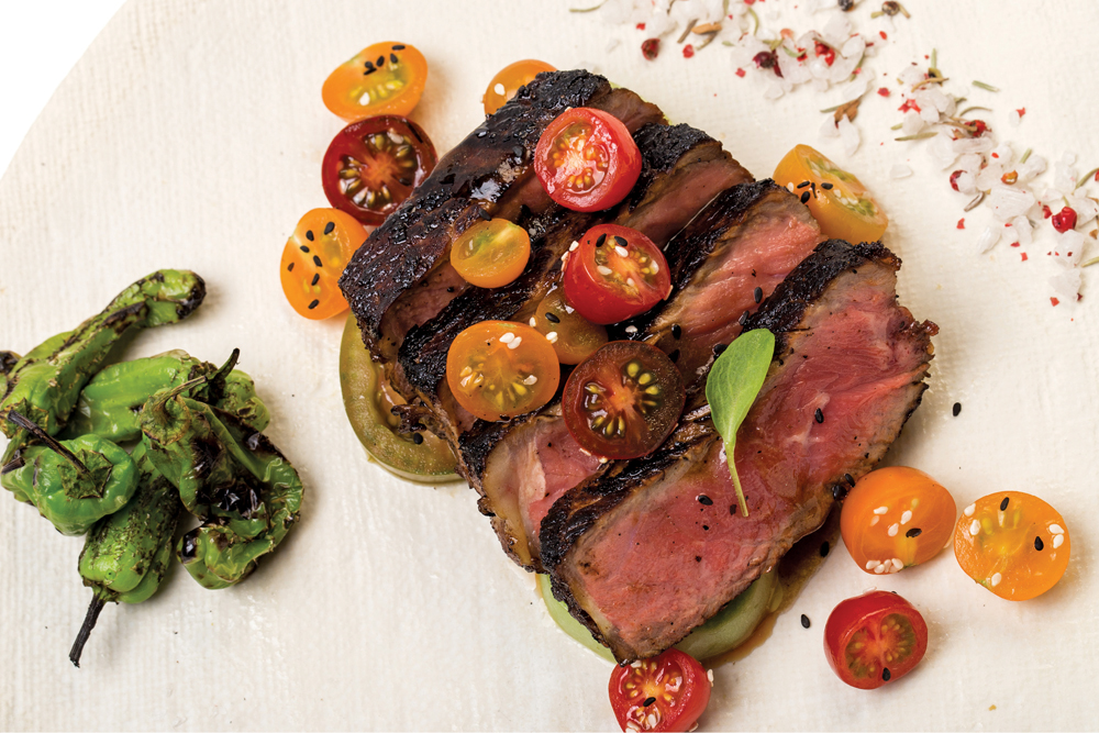 Nuhma New York, Grilled Steak with Macerated Tomatoes