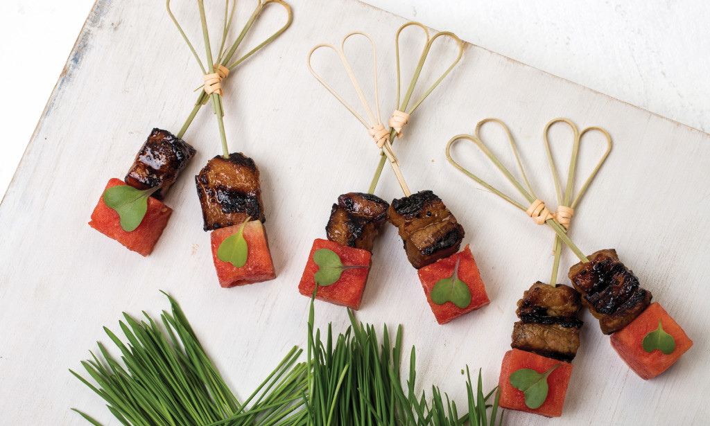 Nuhma New York, Pork and Pickled Watermelon Skewers