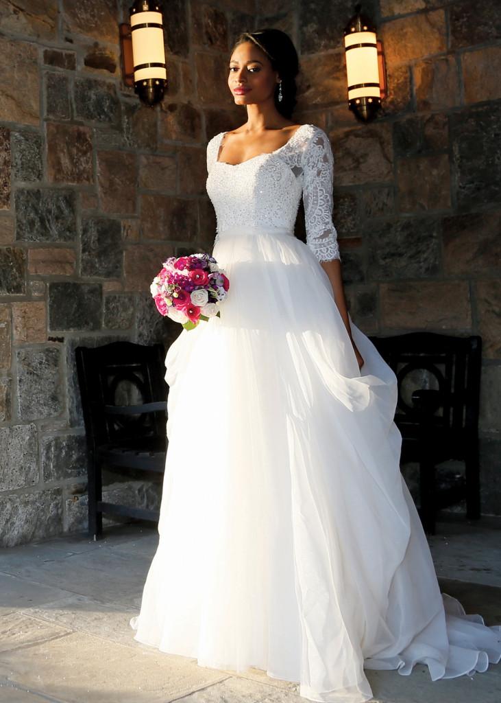 Oleg Cassini Vintage 3/4 Sleeve Ballgown Wedding Dress