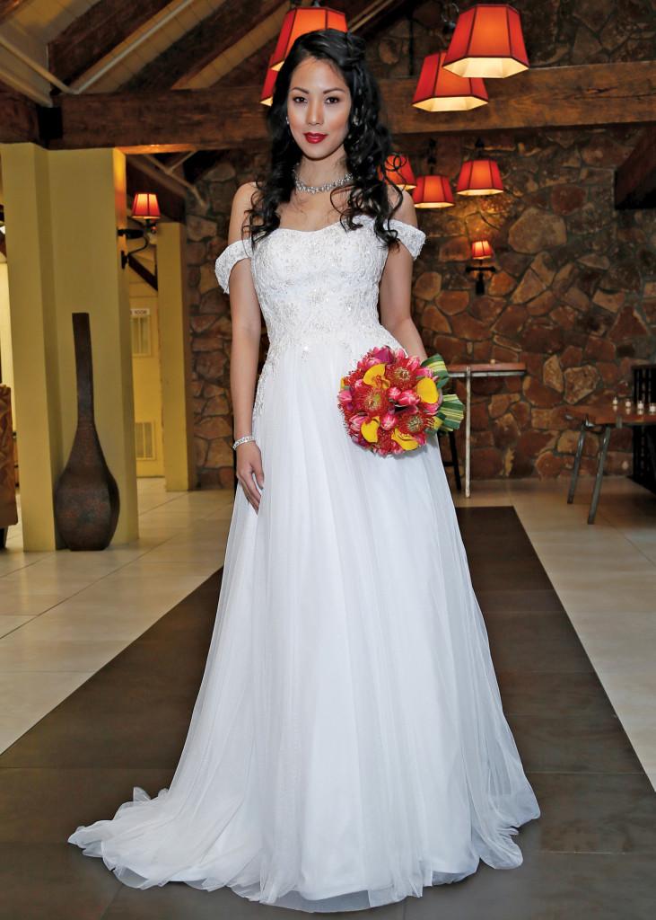 Oleg Cassini Off-the-Shoulder A-Line Wedding Gown