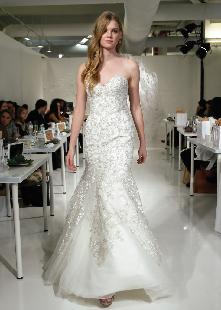 Watters wtoo glamorous trumpet strapless wedding gown for Wedding dress preservation nyc
