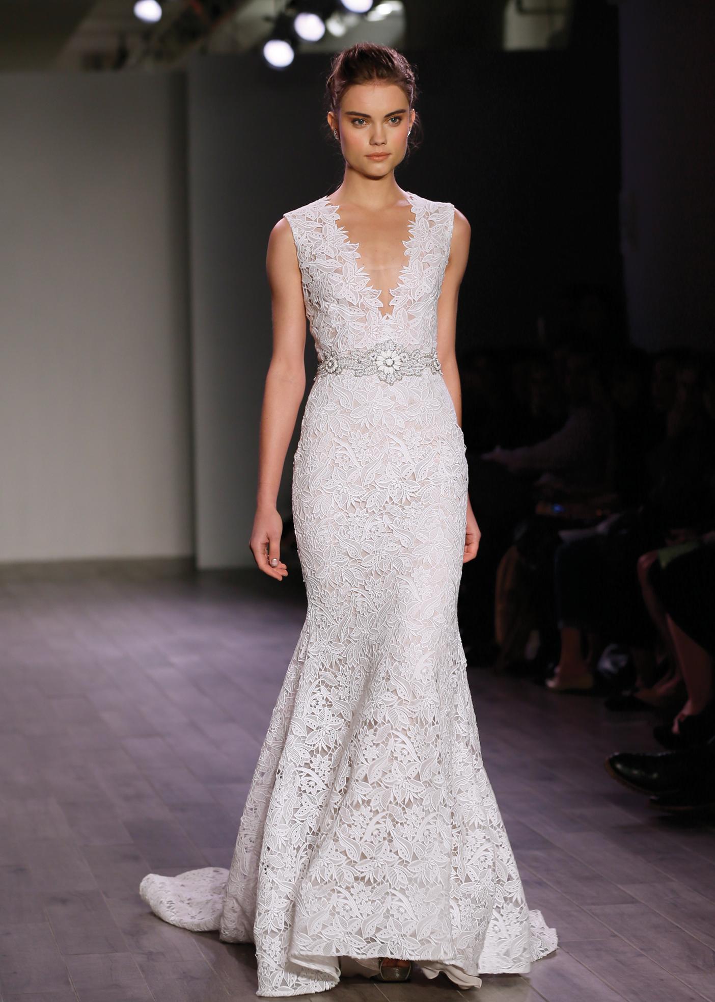 Lazaro glamorous sleeveless mermaid wedding gown for Lazaro wedding dress price range