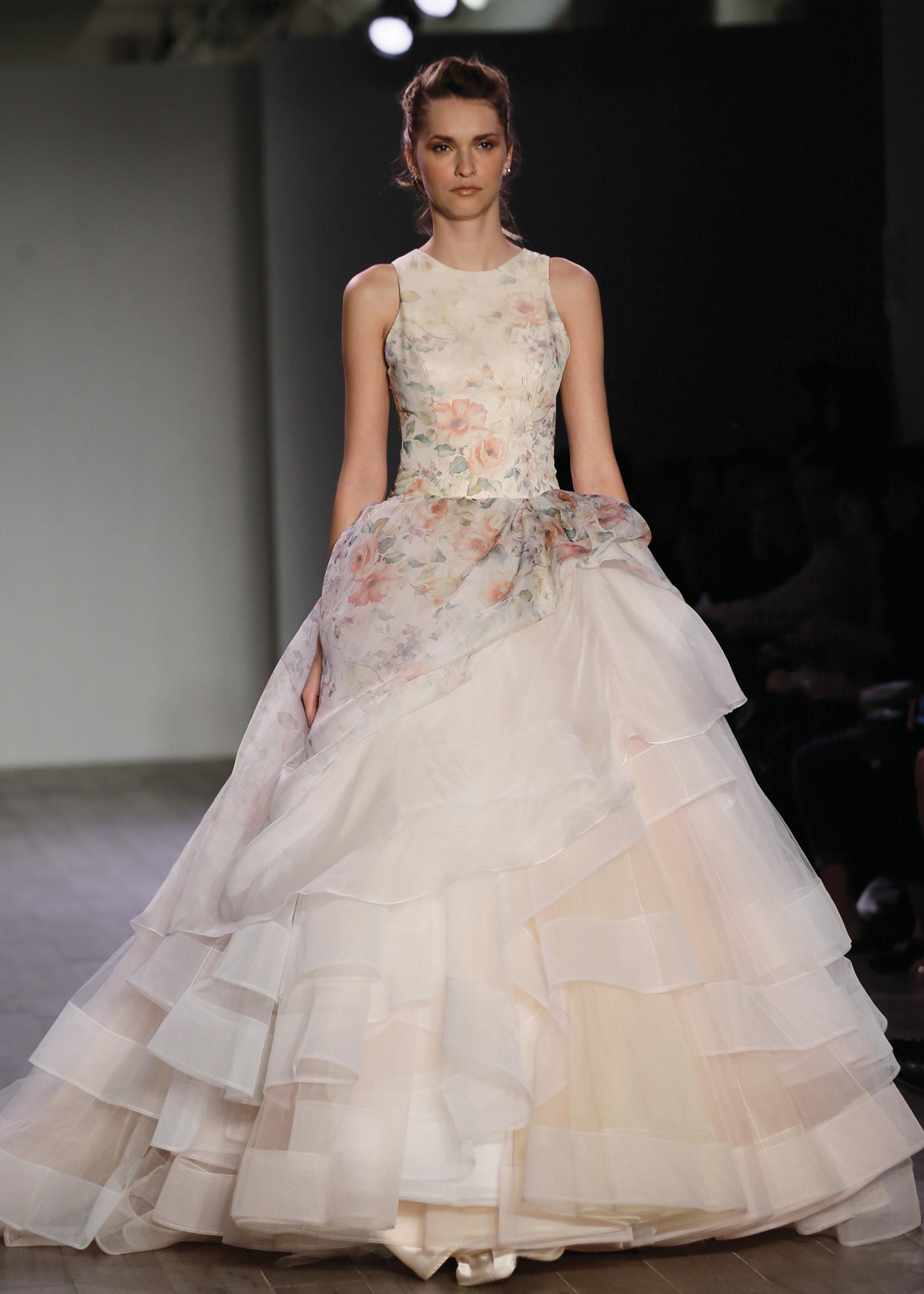 Lazaro Sleeveless Floral Ballgown Wedding Dress NY, NJ