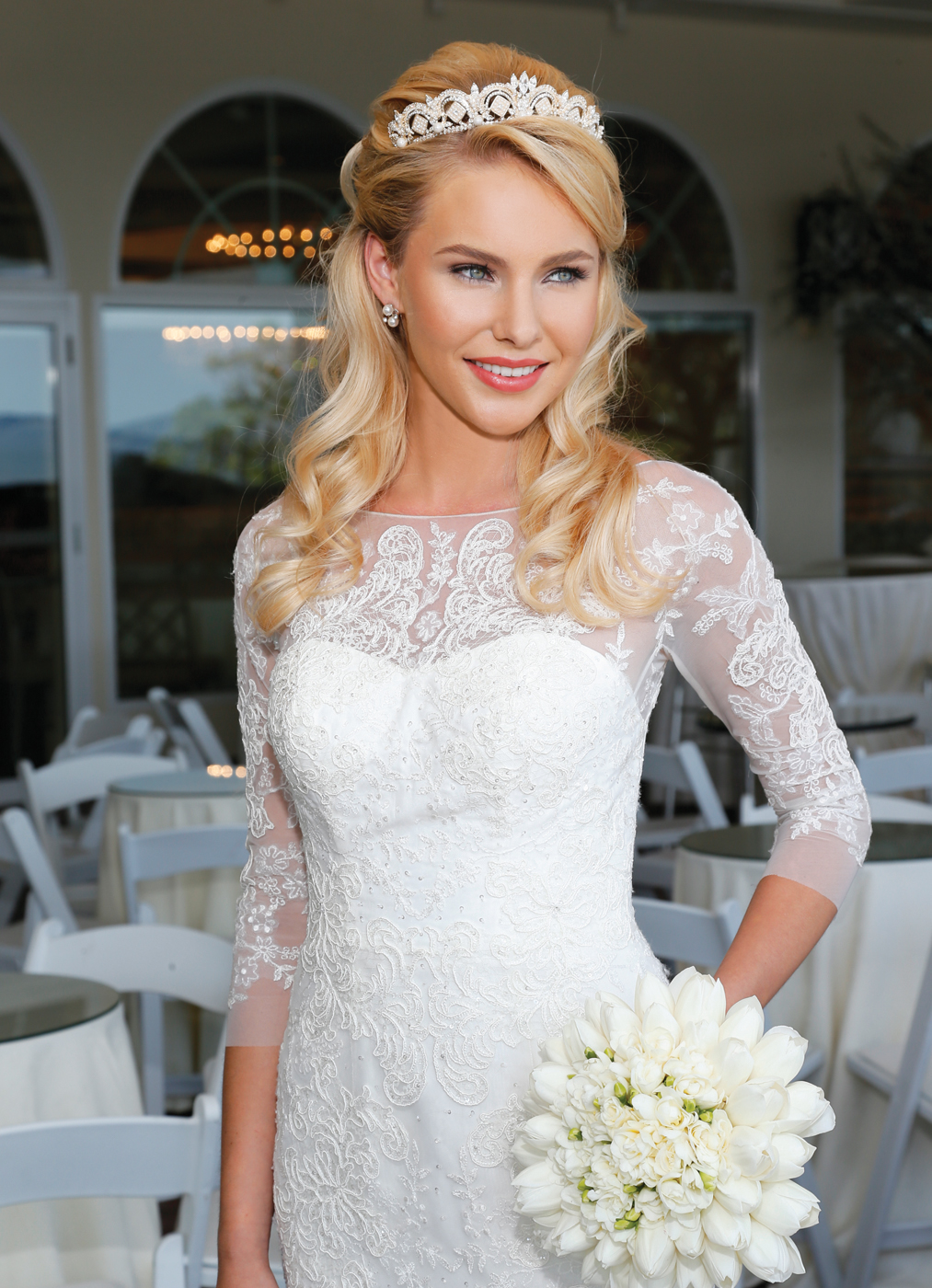 Makeup & Hair: The Bridal Suite NY. Gown: Oleg Cassini at David's Bridal (CWG710 $1250). Bouquet: Ariston Flowers.