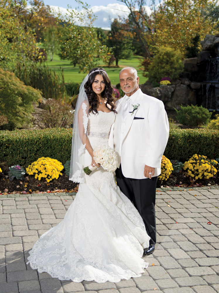 Falkirk Estate & Country Club, the Bride, Alexa, with her dad, Falkirk GM Tommy Spinelli (Allen E. Levine Photography)