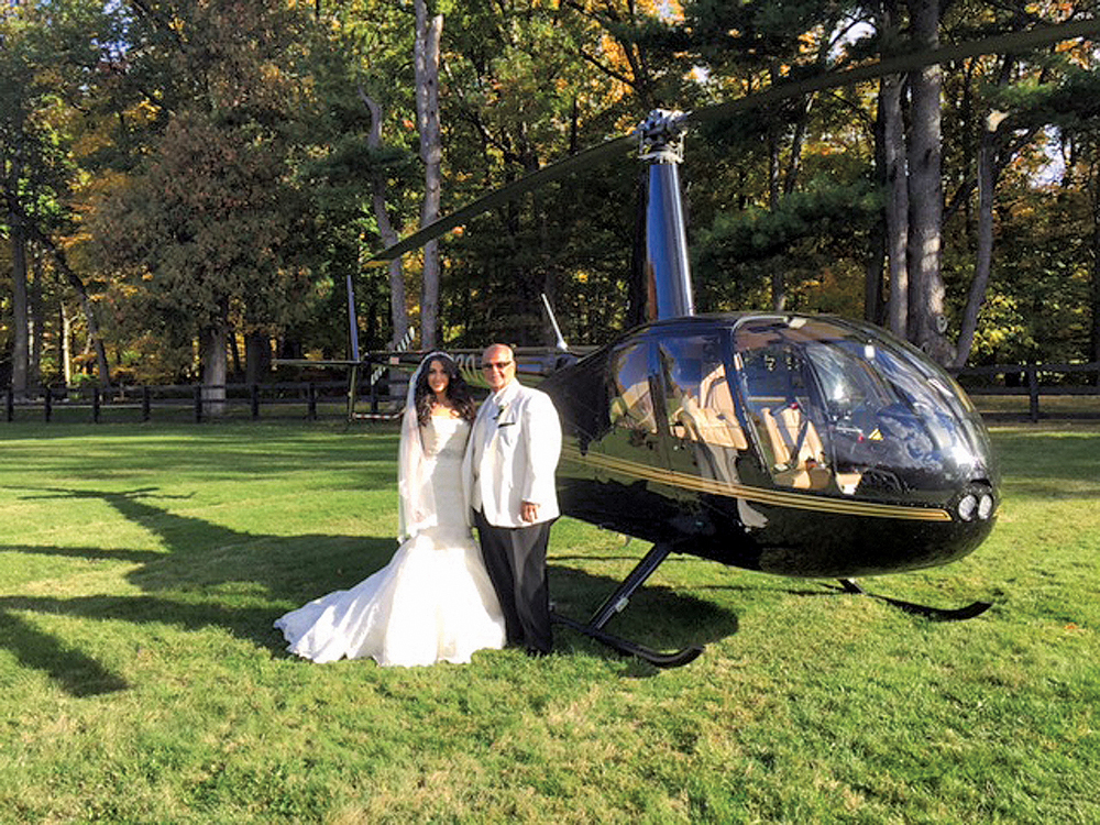 Falkirk Estate & Country Club, the Bride and Her Dad, Arriving by Helicopter (Allen E. Levine Photography)