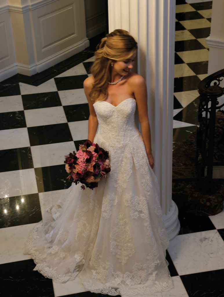 Oleg Cassini at David's Bridal (CWG 749, $1758), PMK Floral Arts