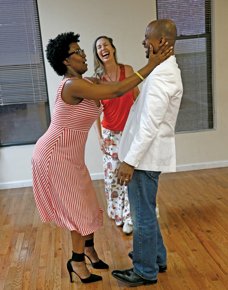 Karen McDonald-True Balance Dance; Tamika playfully rocks Daniel back on his heels as Karen also enjoys the moment.