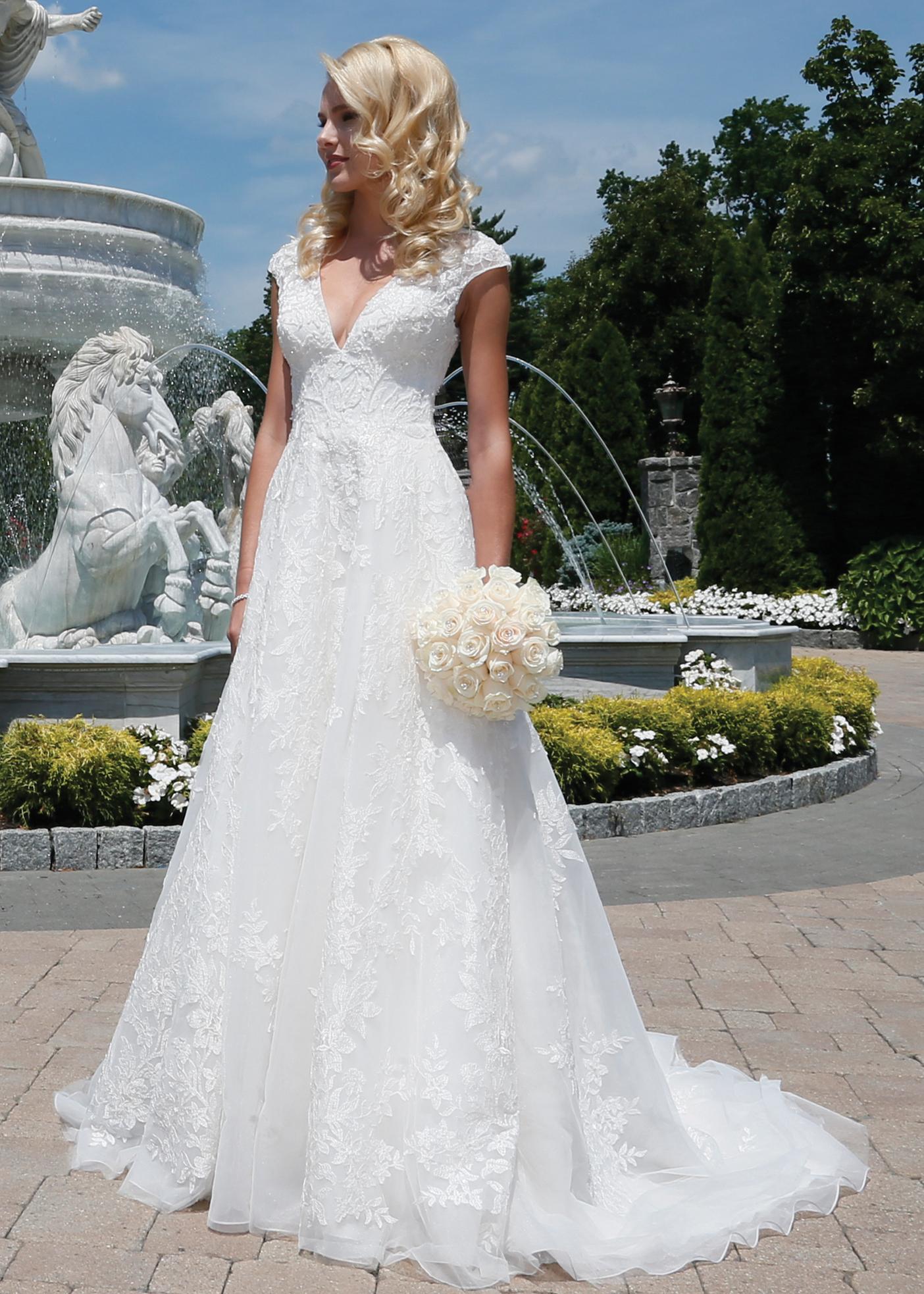 A-Line Ballgown Bridal Wedding Dress by Oleg Cassini - NY, NJ