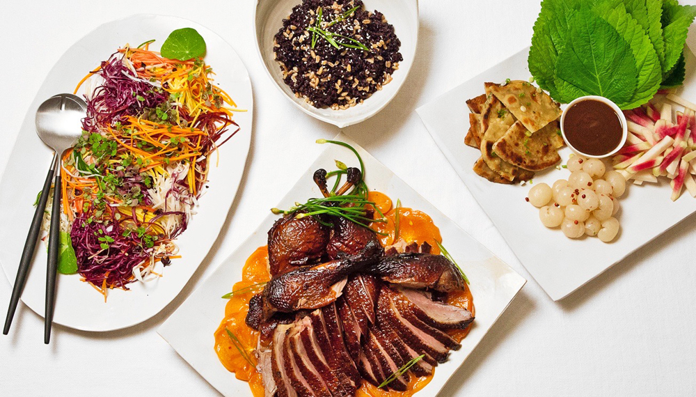 Nuhma New York, Pan-Asian— Tea Smoked Duck, Asian Cabbage slaw, forbidden fried Rice, Scallion Pancakes