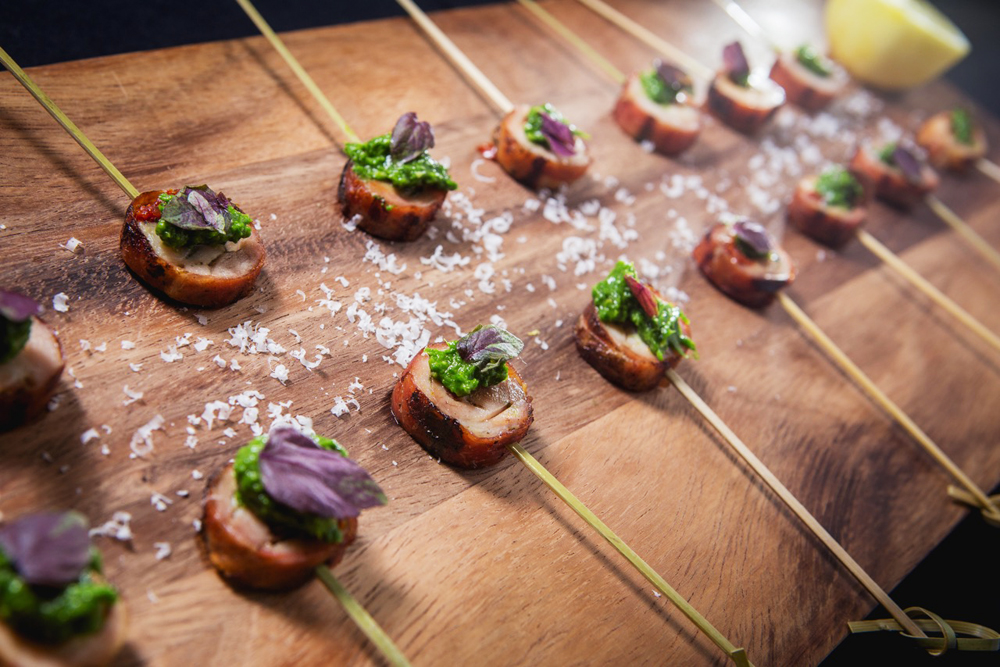 Nuhma New York, Specialty Hors D'Oeuvres—Chicken Saltimboca Skewers