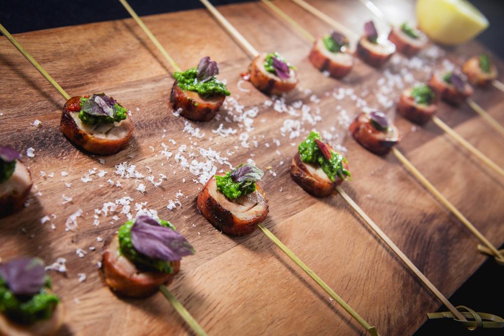 Nuhma New York, Specialty Hors D'Oeuvres—Chicken Saltimboca Skewers