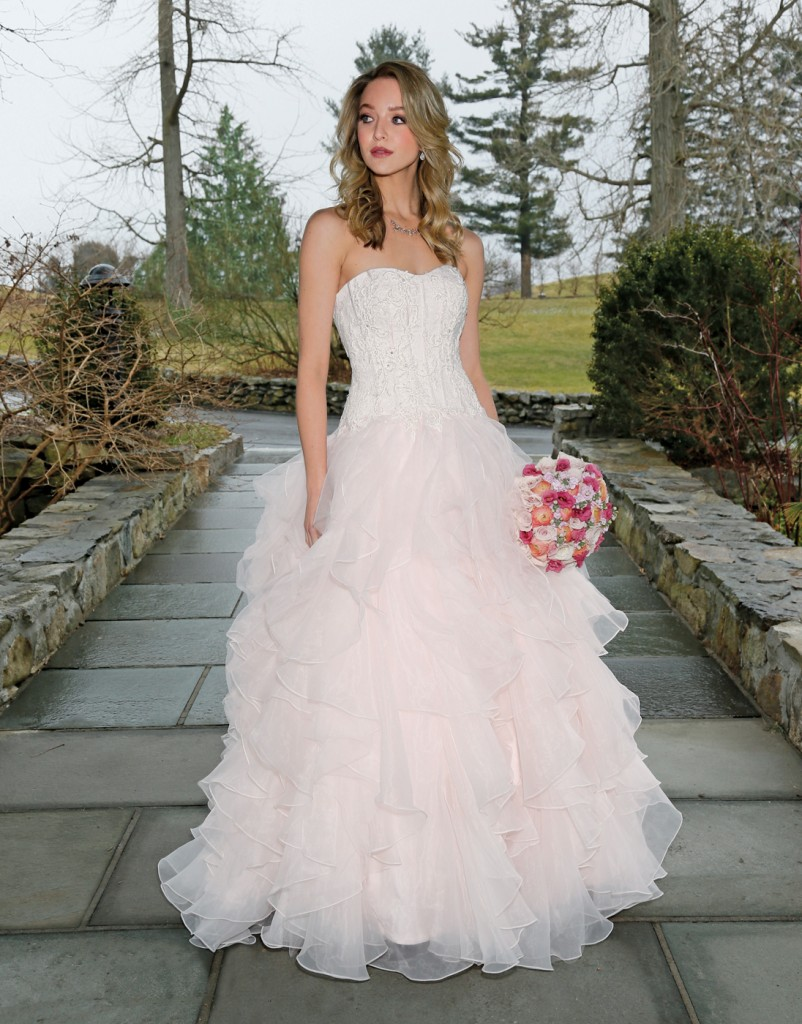 Gown: Oleg Cassini (CWG568, $1358), Flowers: Mitch Kolby Events
