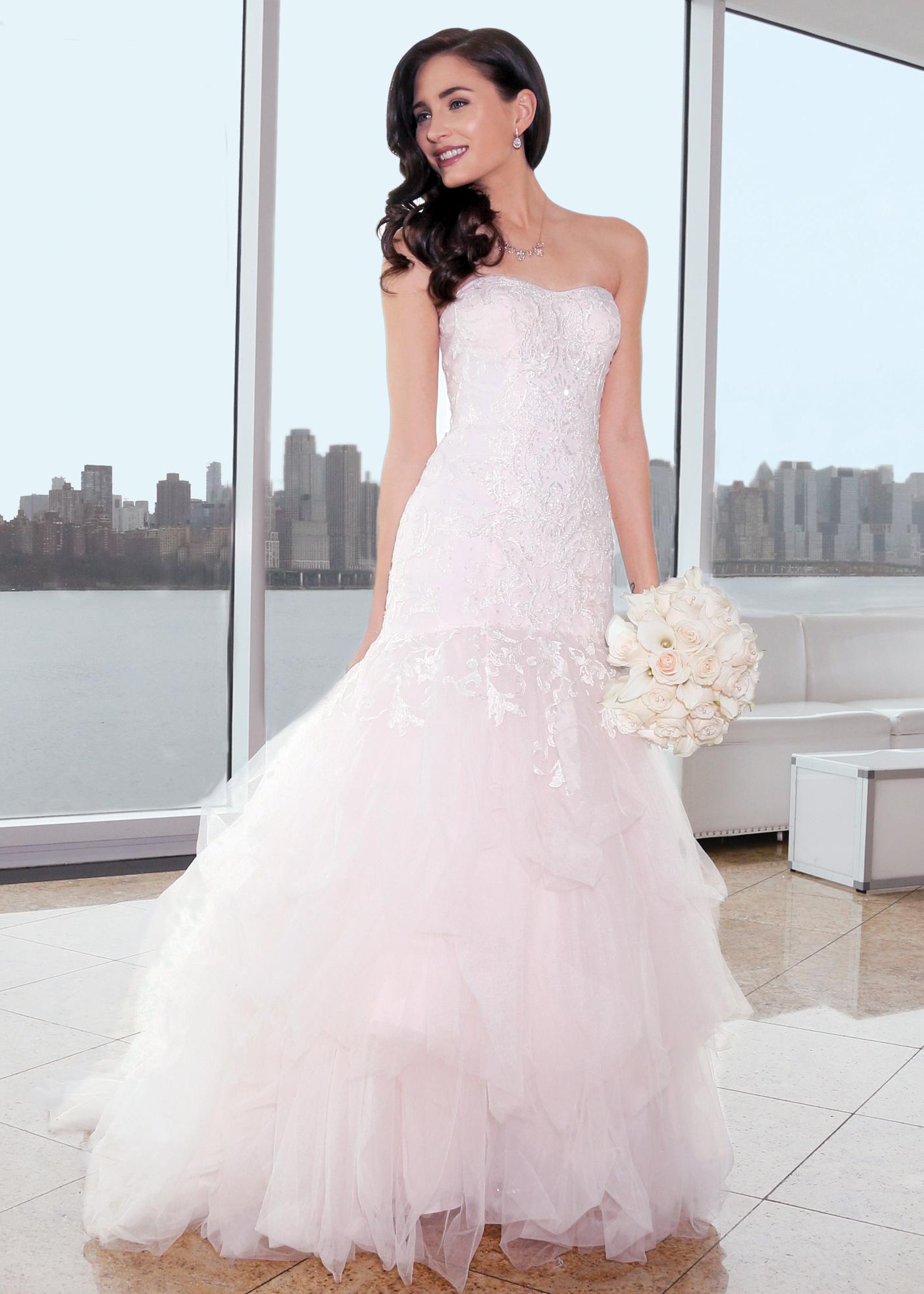 b8c3f4826ac Blush Trumpet Bridal Wedding Gown by Oleg Cassini NY