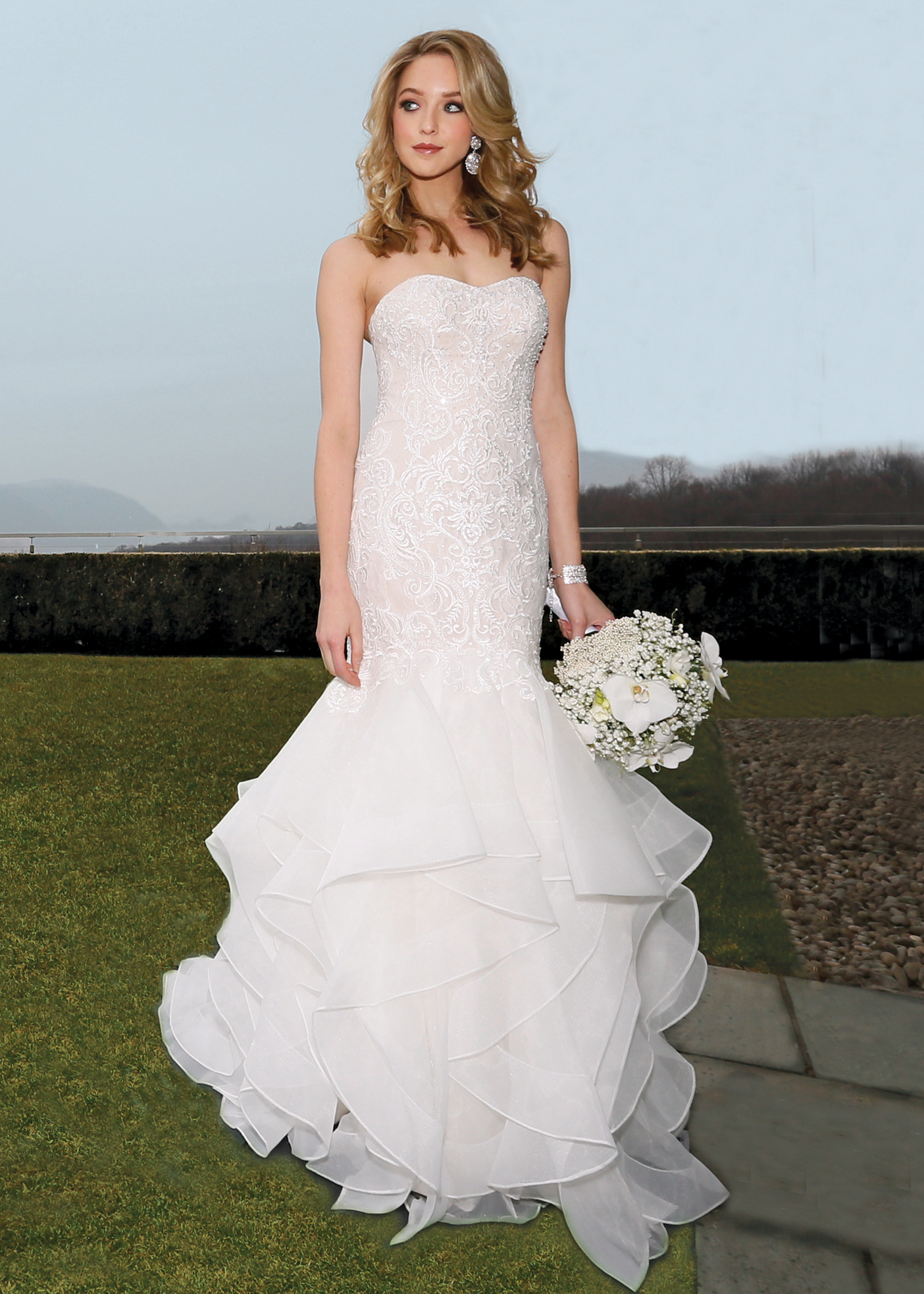 Trumpet dress bridal wedding gown by oleg cassini ny nj for Wedding dress designer oleg cassini