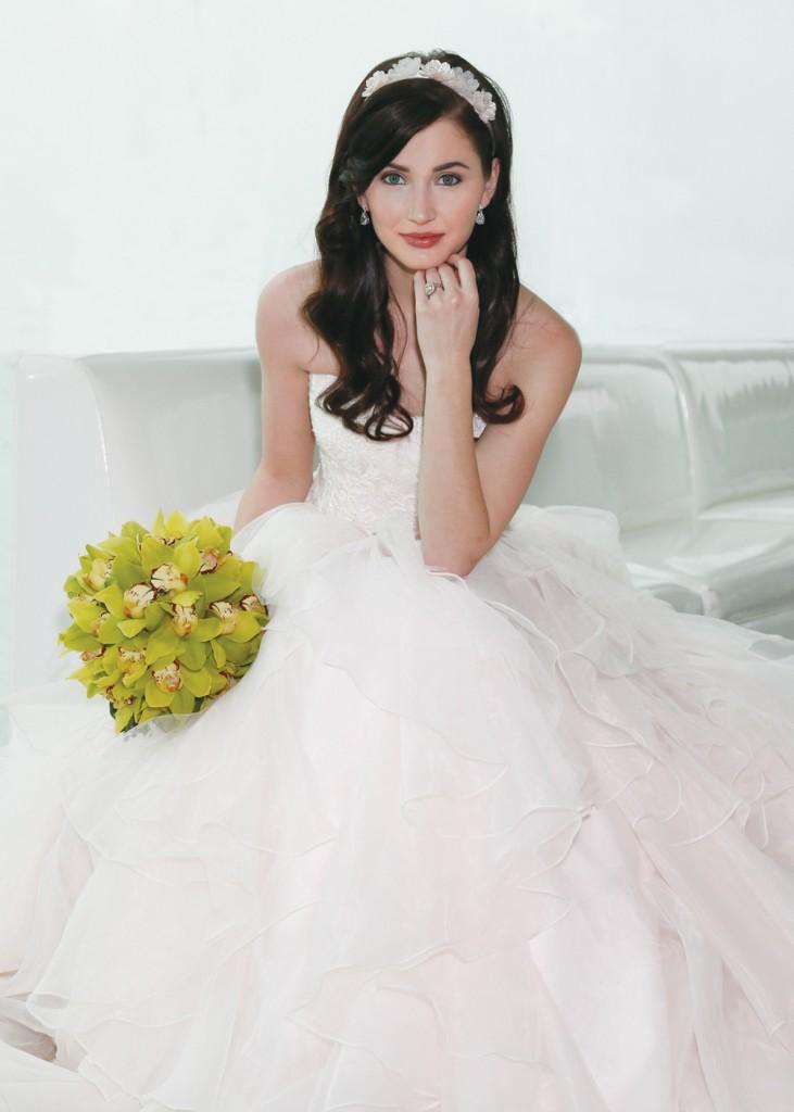 Gown: Oleg Cassini (CWG568, $1358), Ariston Flowers