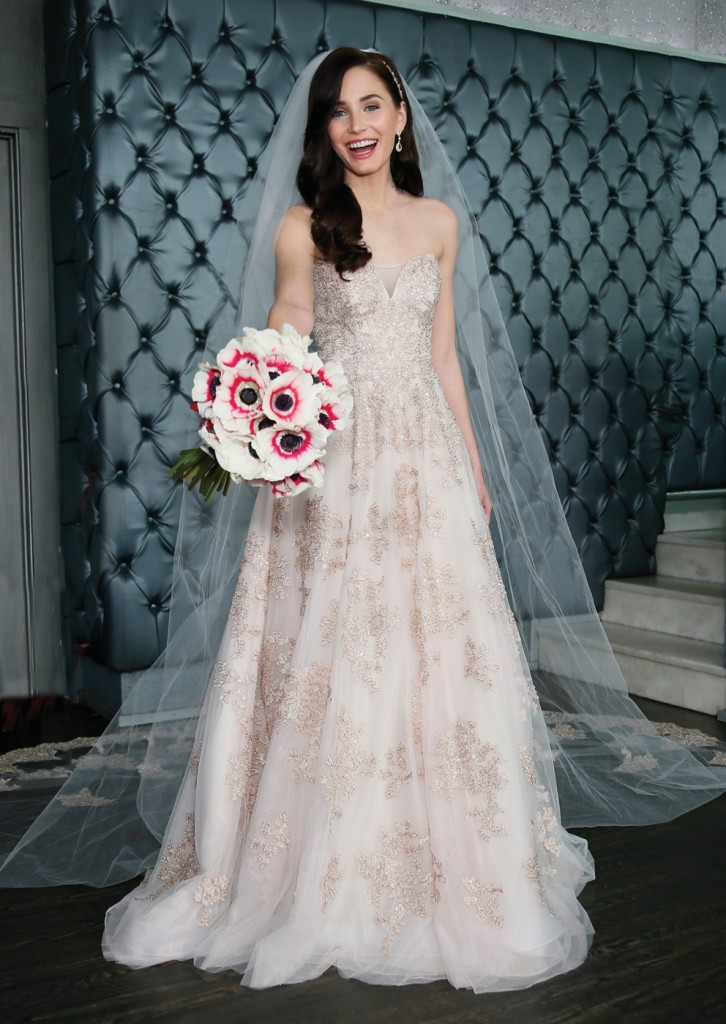 Gown: Oleg Cassini (CWG767, $1558), Ariston Flowers