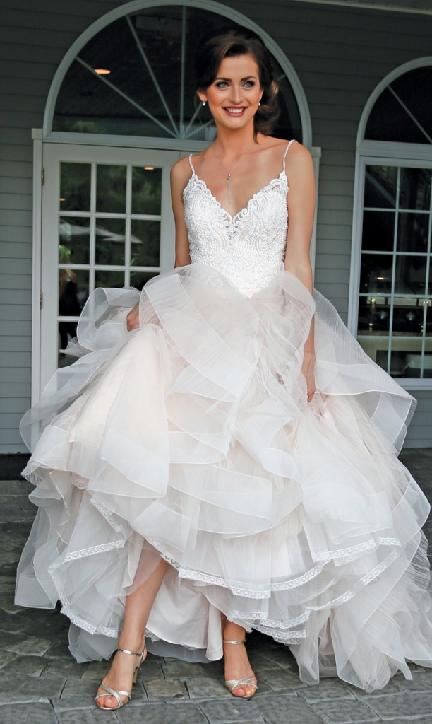 Gown: Allure (9450, $1,700) at Bossina Couture, Forever Brooch Bouquets