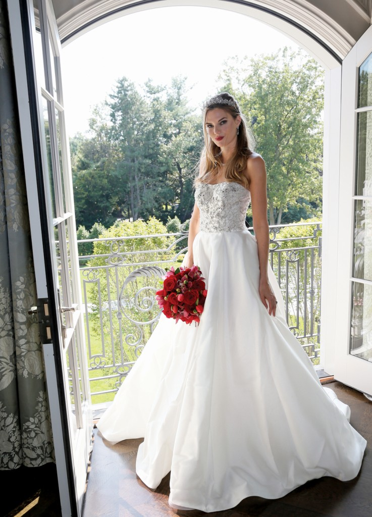 Gown: Oleg Cassini at David's Bridal (CWG 791, $1,158), Ariston Flowers