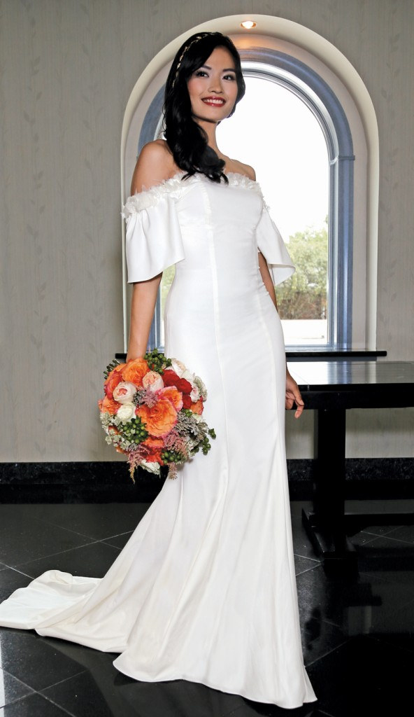 Gown: Jennifer Black at Tulle NY (Sparrow, $1,900), Torcianna Florals