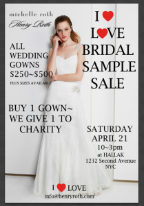 Michelle Roth's Bridal Sample Sale at Hallak Cleaners