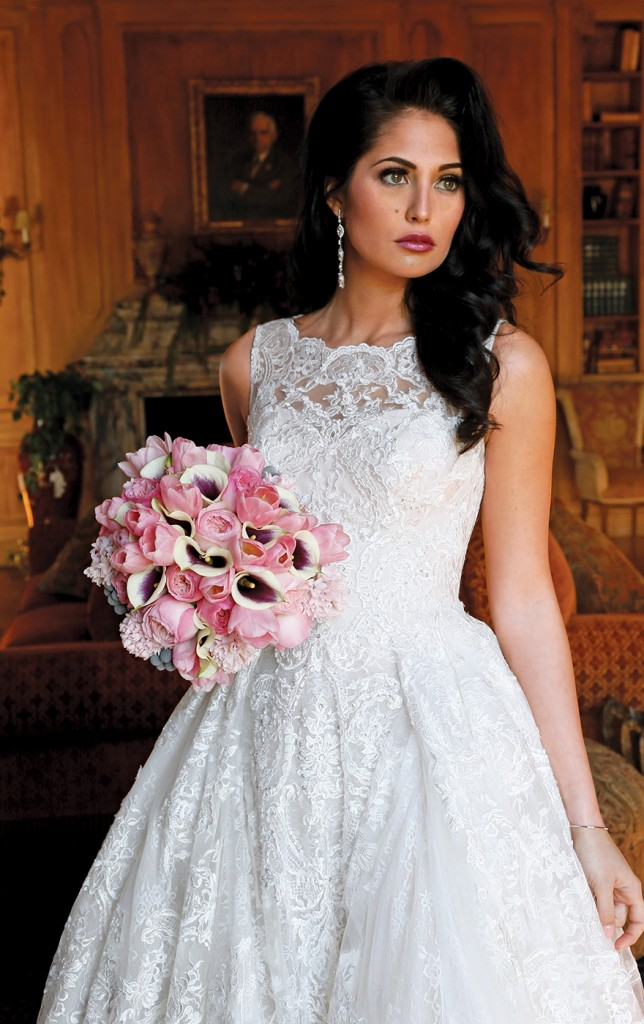 Gown: Oleg Cassini at David's Bridal (CWG780, $1,858), Ariston Flowers, Bracelet-KVO Collections, Earrings-David's