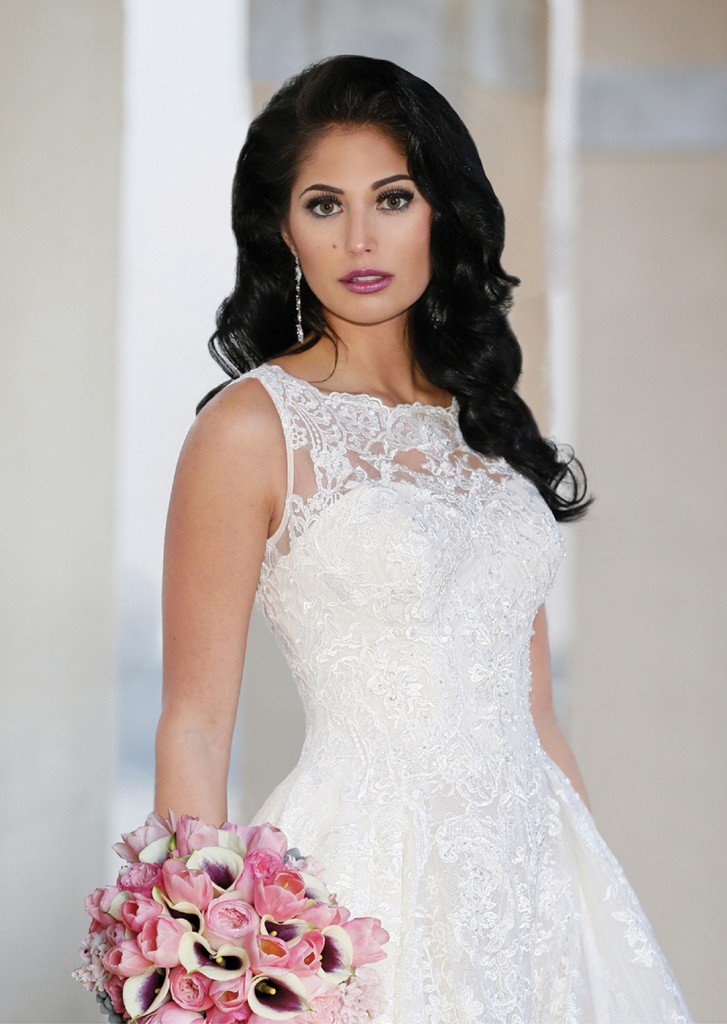 Gown: Oleg Cassini at David's Bridal (CWG780, $1,858), Ariston Flowers, Earrings-David's