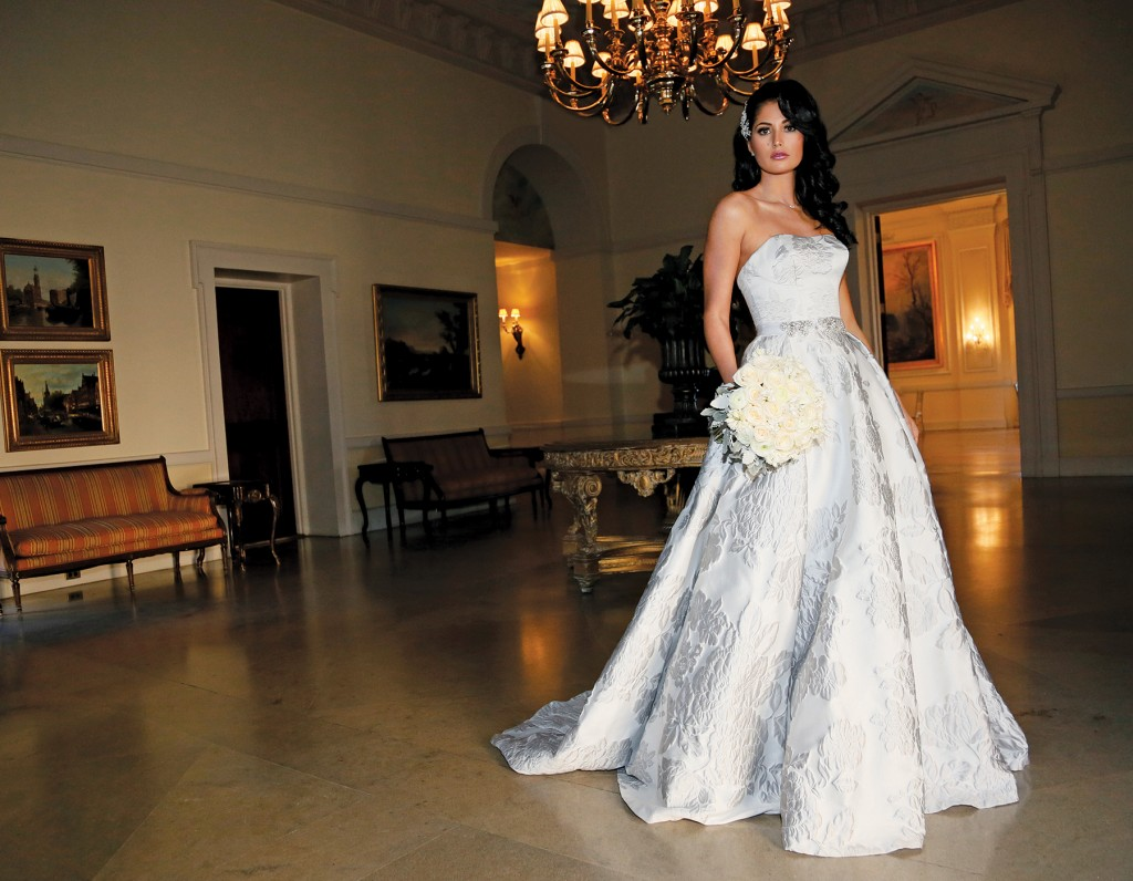 Gown: Oleg Cassini at David's Bridal (CWG789, $1,258), Ariston Flowers, Necklace-KVO Collections, Hairpiece-David's