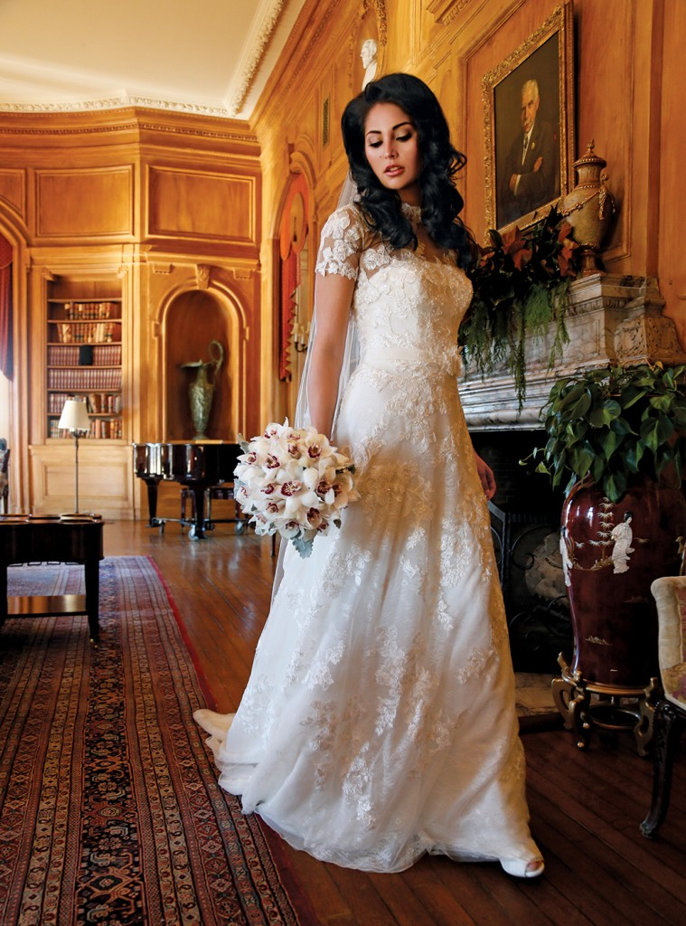 Gown: Oleg Cassini at David's Bridal (CWG790, $1,258), Ariston Flowers