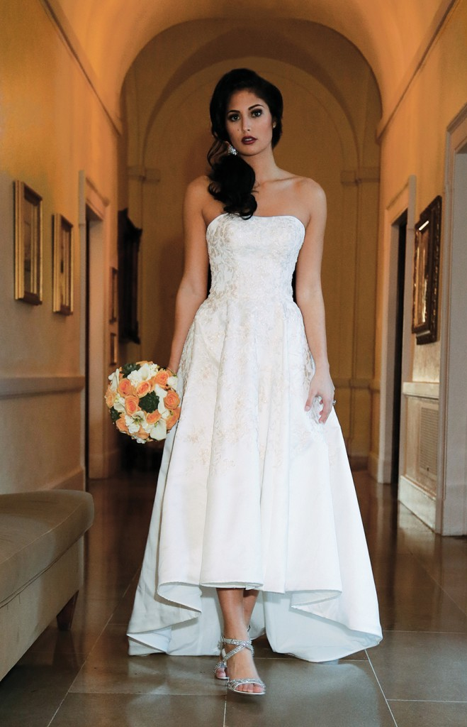 Gown: Oleg Cassini at David's Bridal (CWG794, $758), Ariston Flowers
