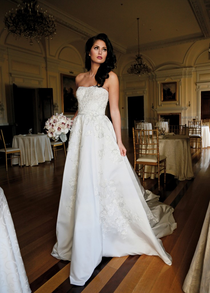 Gown: Oleg Cassini at David's Bridal (CWG797, $1,458), Ariston Flowers, Jewelry-KVO Collections