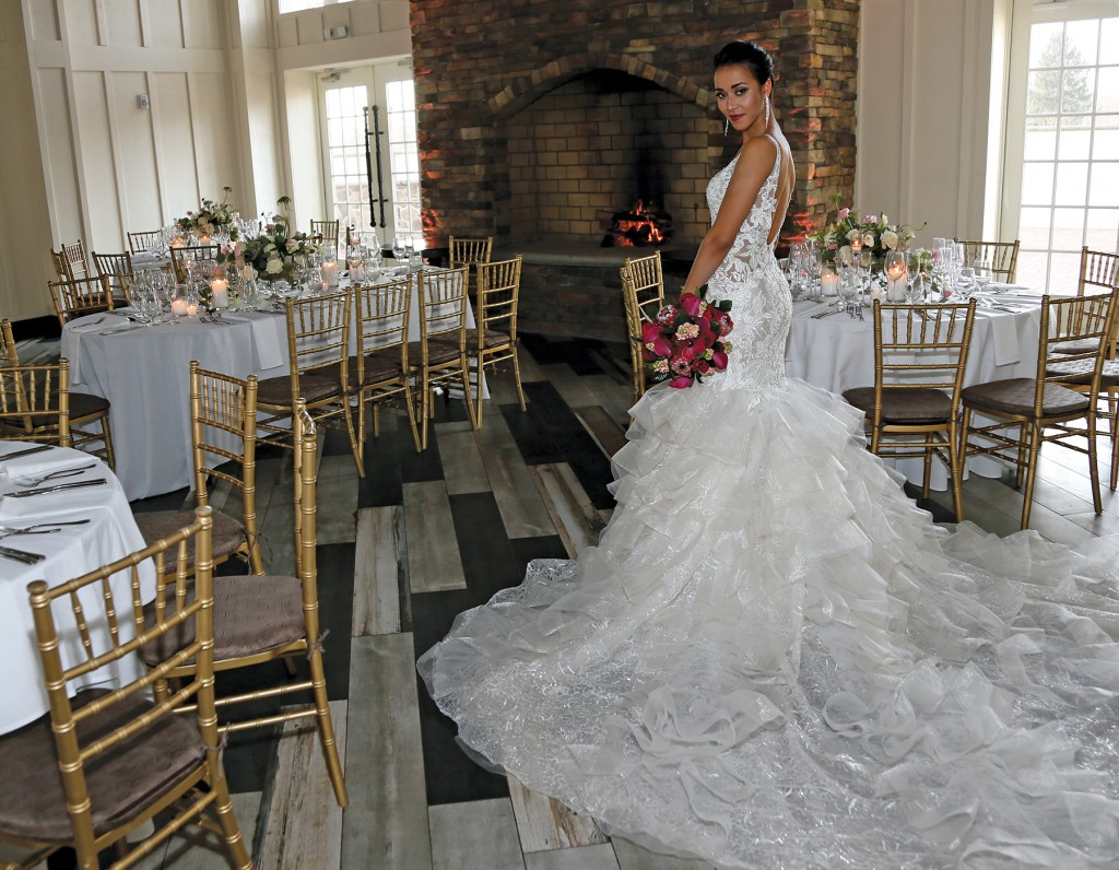 Gown: Eve of Milady (1611), Bouquet: Mitch Kolby Events, Jewelry: David's Bridal