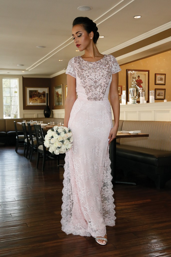 Gown: Lucia Rodriguez (Taly LE41, $4,800), Ariston Flowers, Earrings: KVO Collections