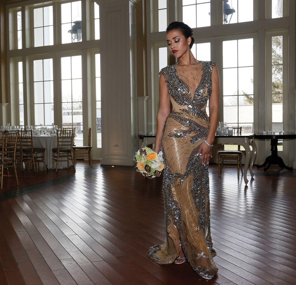 Gown: Lucia Rodriguez (Tobi, $5,650), Ariston Flowers, Jewelry: KVO Collections