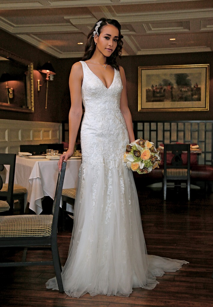 Gown: Oleg Cassini at David's Bridal (CWG795, $1,158), Ariston Flowers, Jewelry: David's Bridal