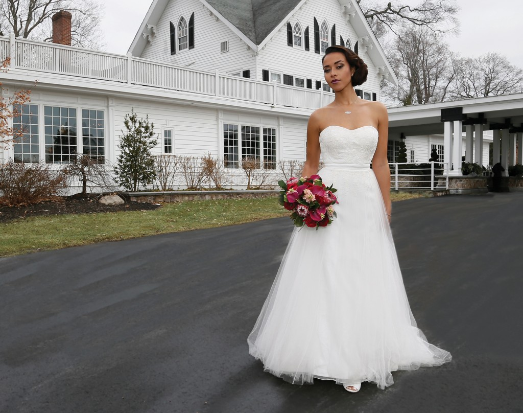 Gown: Antonio Gual at Tulle NY (Molly, $2,900), Ariston Flowers, Jewelry: KVO Collections