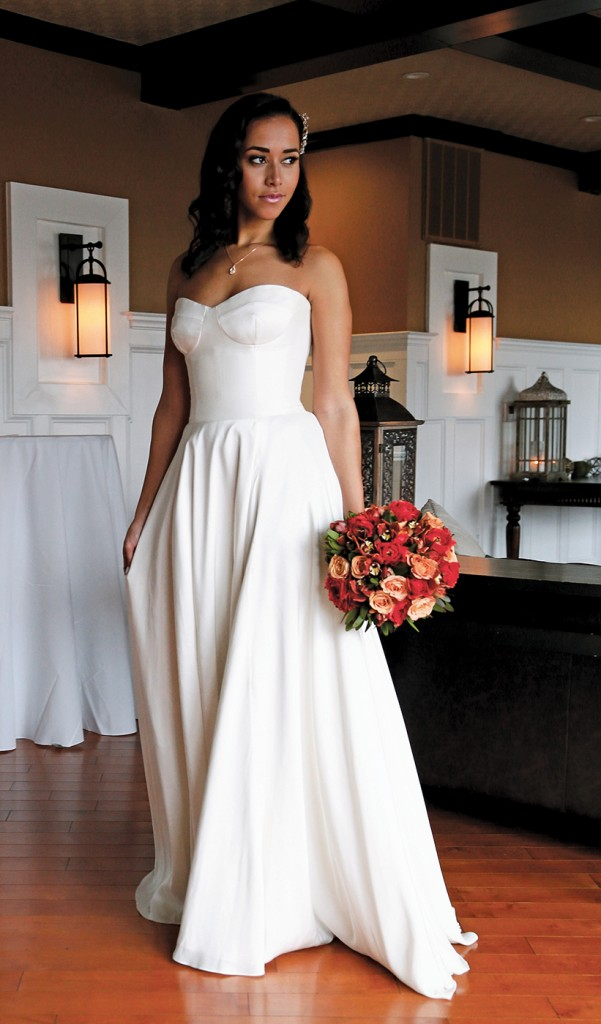 Gown: Antonio Gual at Tulle NY (Sal, $3,300), Bouquet: Mitch Kolby Events, Jewelry: David's Bridal