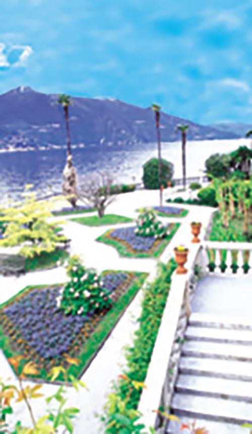 Grand Hotel Villa Serbolini; Gardens, the Alps, and Palm Trees