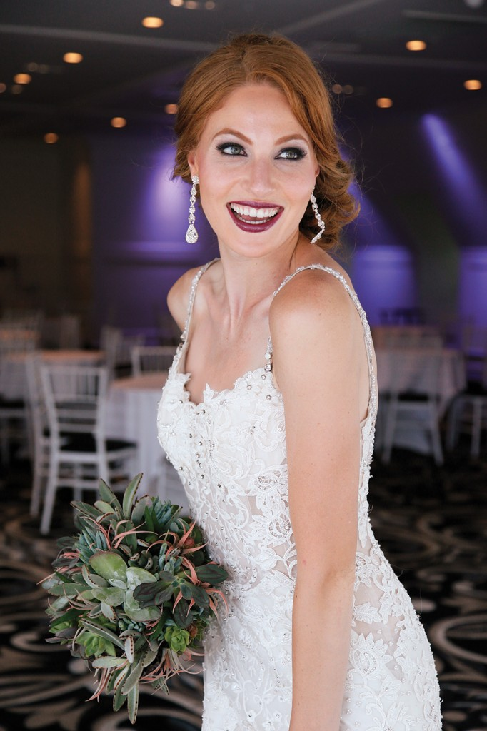 Gown-Eve of Milady (1557), Bouquet-Mitch Kolby Events, Hair Jewelry-Sterling Hairpins, Earrings-David's Bridal