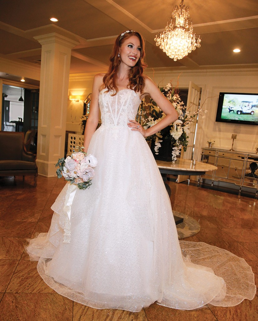 Gown-Lucia Rodriguez (White Tulle Sequins, $4,800), Forever Brooch Bouquets, Tiara-Lucia Rodriguez