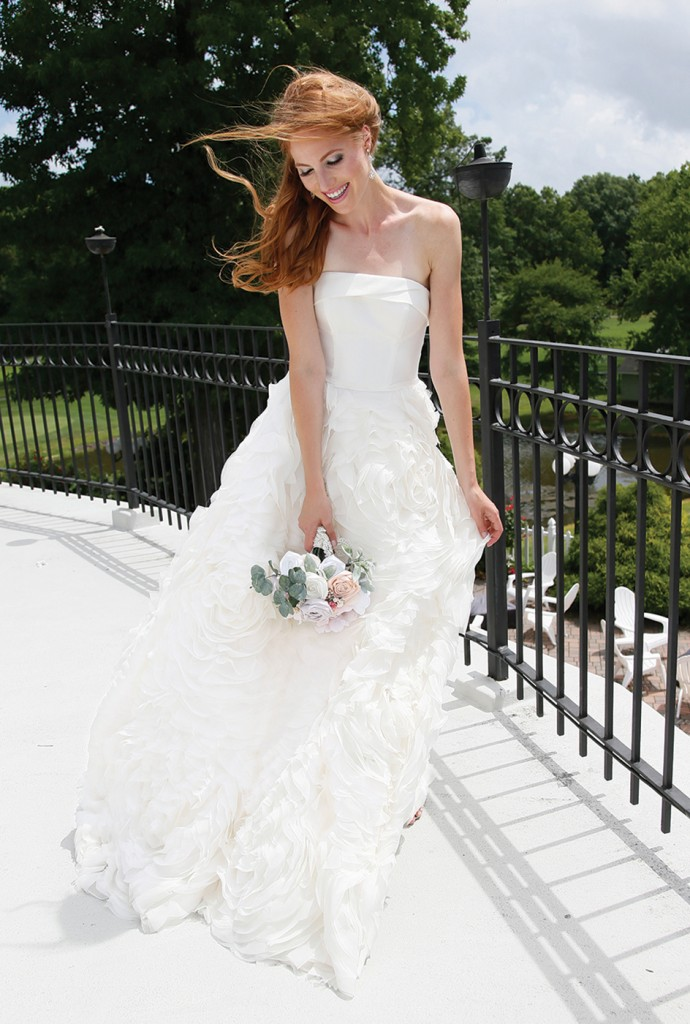 Gown-Oleg Cassini at David's Bridal (CWG805, $1,258), Forever Brooch Bouquets, Earrings-David's Bridal