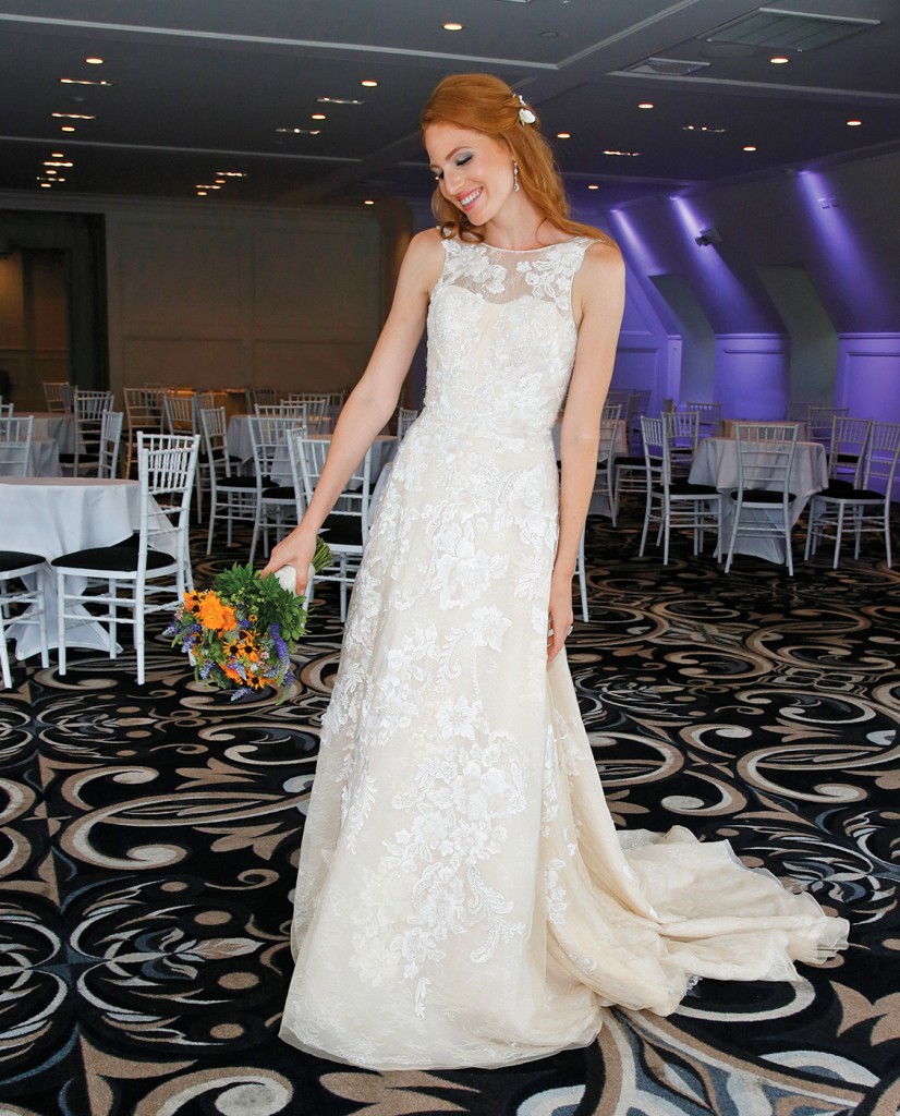 Gown-Oleg Cassini at David's Bridal (CWG806, $1,258), Bouquet-Mitch Kolby Events, Hair Jewelry-Sterling Hairpins, Earrings-David's Bridal
