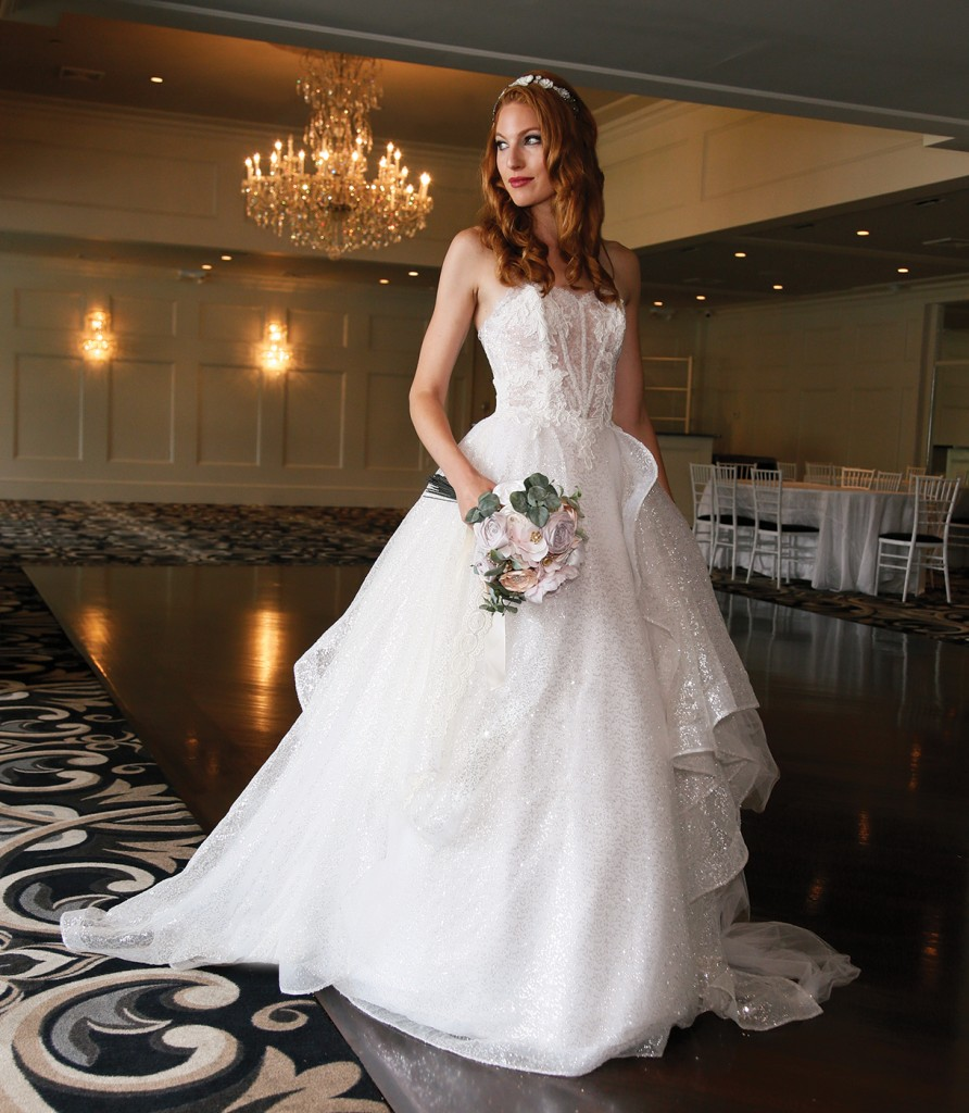 Gown-Lucia Rodriguez (White Tulle Sequins, $4,800), Bouquet-Mitch Kolby Events, Tiara-Lucia Rodriguez