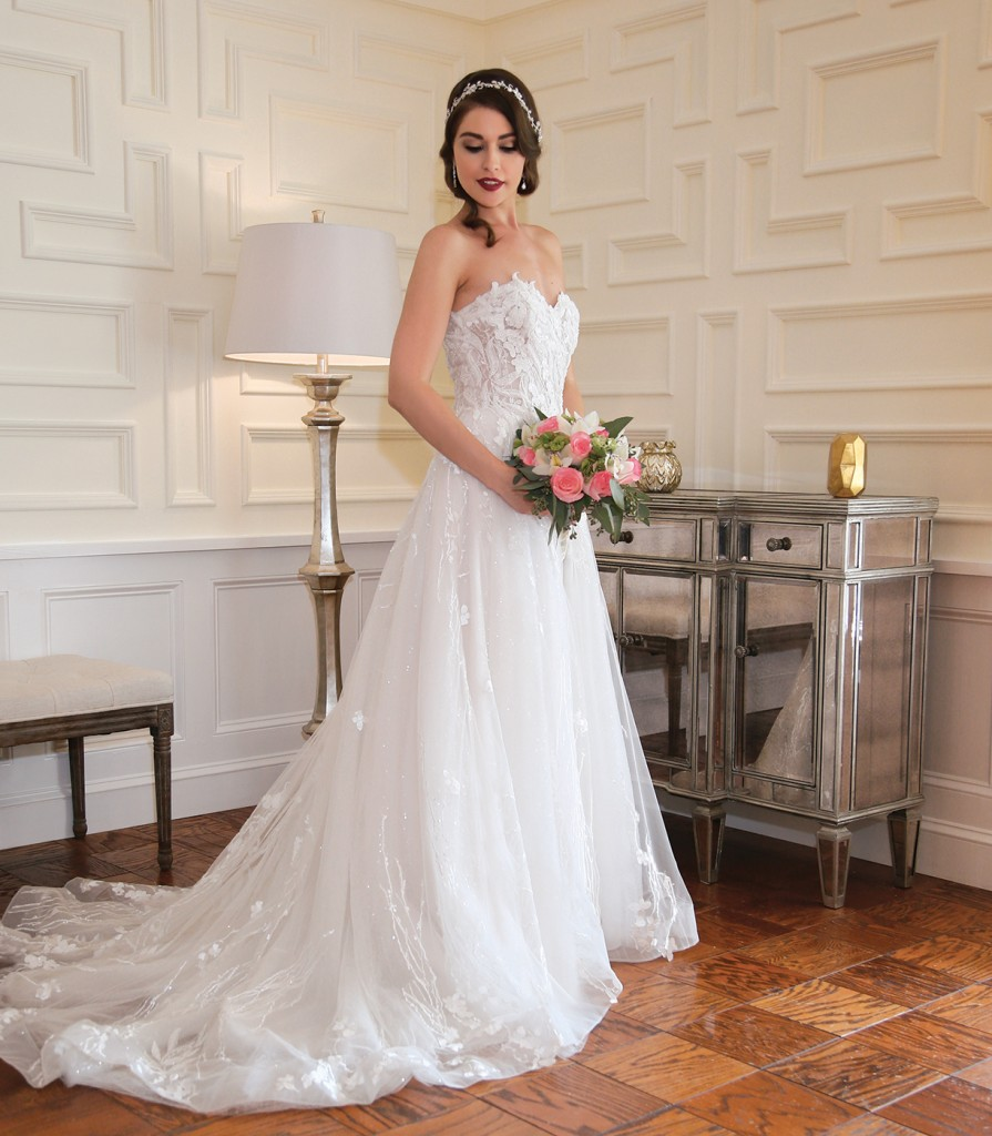 Gown-Bossina Signature (BC8402, $2,200), Henry's Florist, Tiara-Bossina, Earrings-David's Bridal