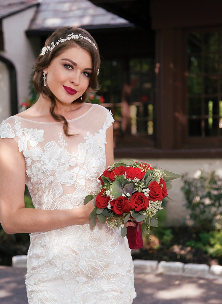 Gown-Bossina Signature (BC8023, $2,000), Henry's Florist, Tiara-Bossina, Earrings-David's Bridal