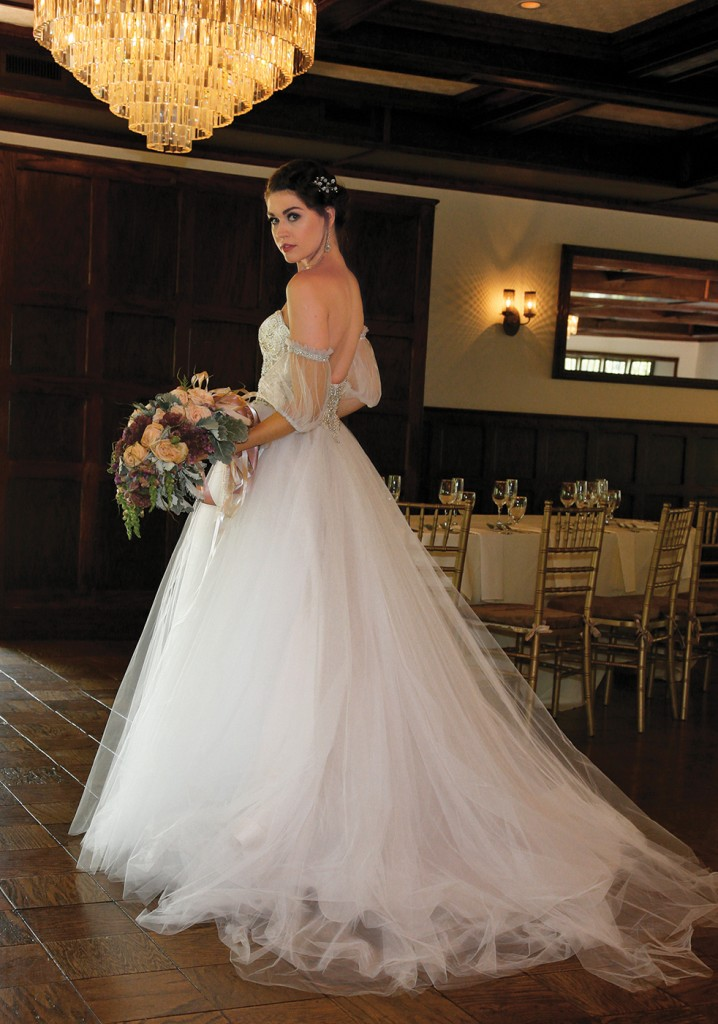 Gown-Eve of Milady (1619), Bouquet-Douglas Koch Designs Ltd, Hair Jewelry-Sterling Hairpins, Earrings-David's Bridal