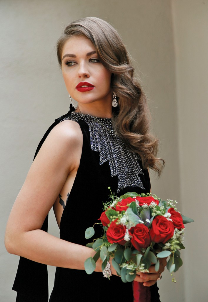 Gown-Lucia Rodriguez (Black Velvet Column Gown, $4,000), Henry's Florist, Earrings-David's Bridal