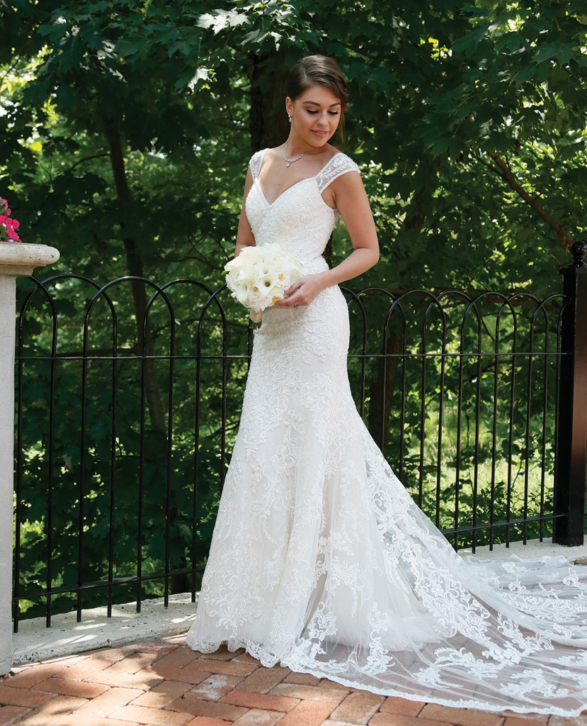 Gown-Oleg Cassini at David's Bridal (XTCWG808, $1,258), Ariston Florist, Jewelry-David's Bridal